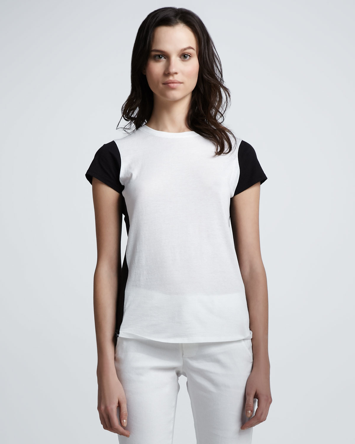 Vince colorblock slub tee in white black lyst for Vince tee shirts sale