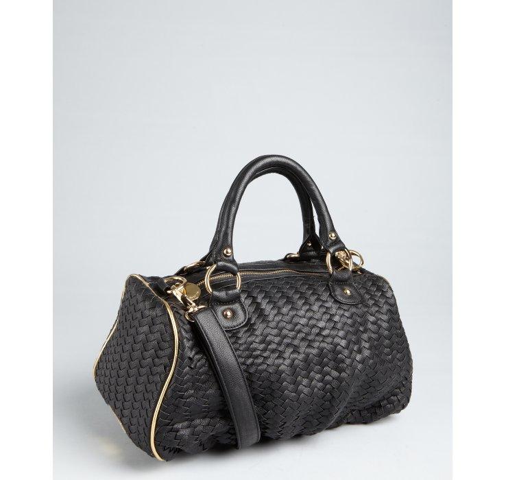 Deux Lux Black Woven Faux Leather Bowery B Sides Satchel