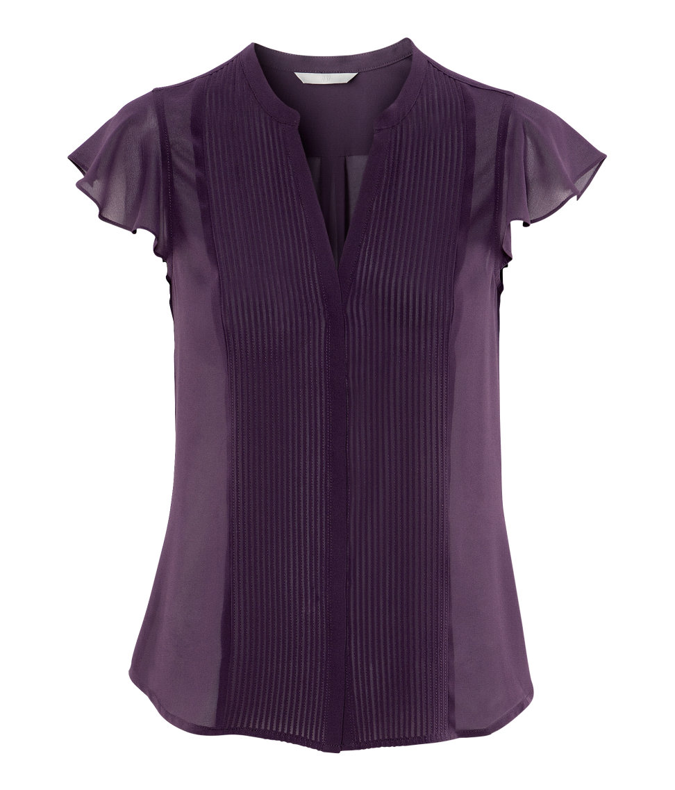 H Amp M Blouse In Purple Lyst