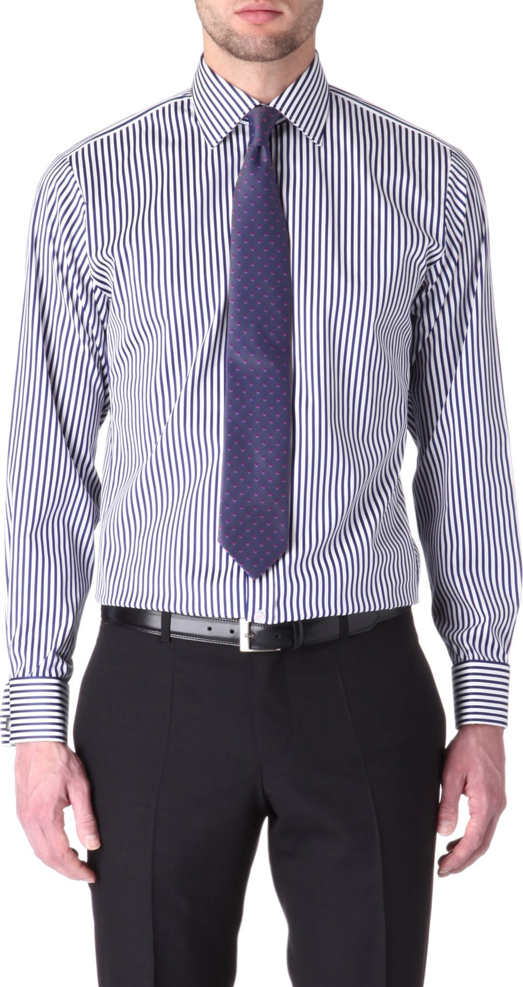 05f4c750 Thomas Pink Algernon Slimfit Doublecuff Shirt in Blue for Men - Lyst