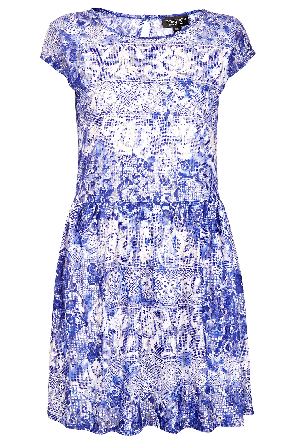 Topshop Capped Sleeve Lace Dress in Blue | Lyst