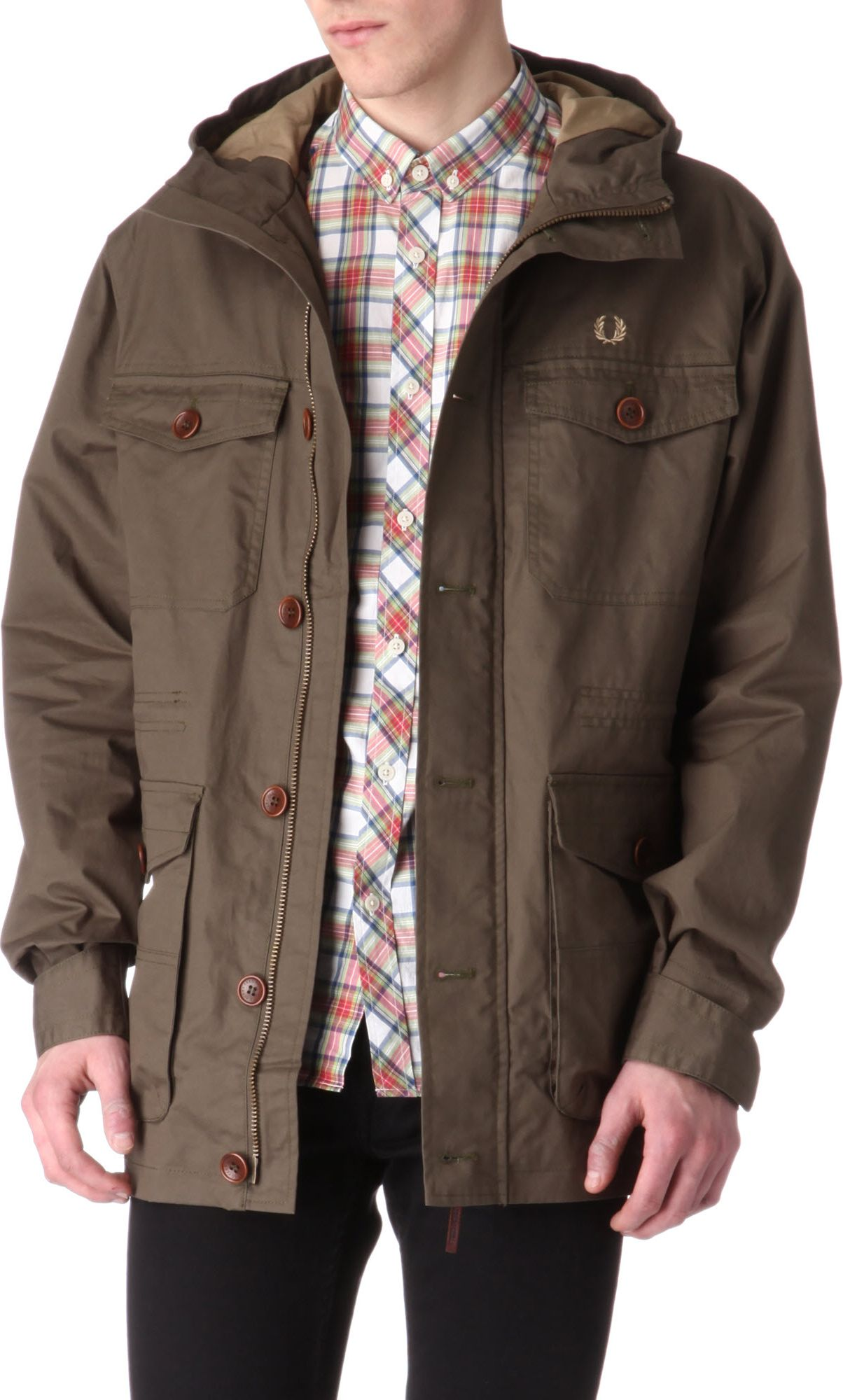 fred perry field parka jacket in brown for men lyst. Black Bedroom Furniture Sets. Home Design Ideas