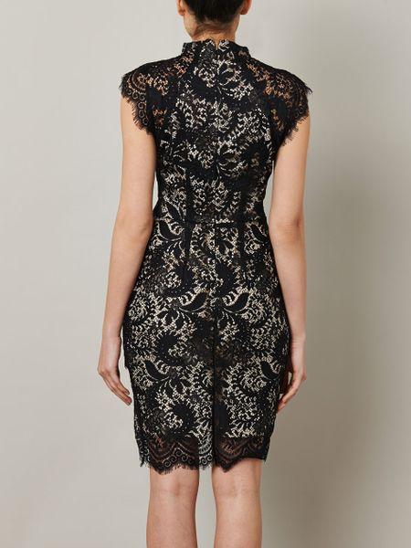 Lover Sara Lace Fitted Dress In Black Lyst