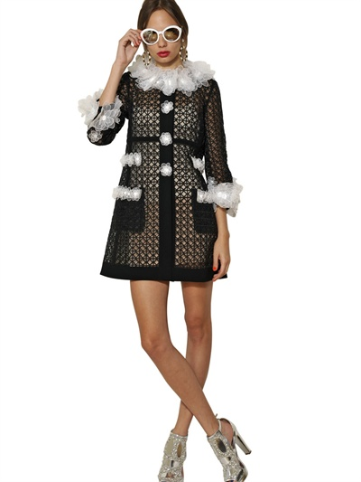 Lyst Moschino Flower Embroidered Techno Organza Coat In