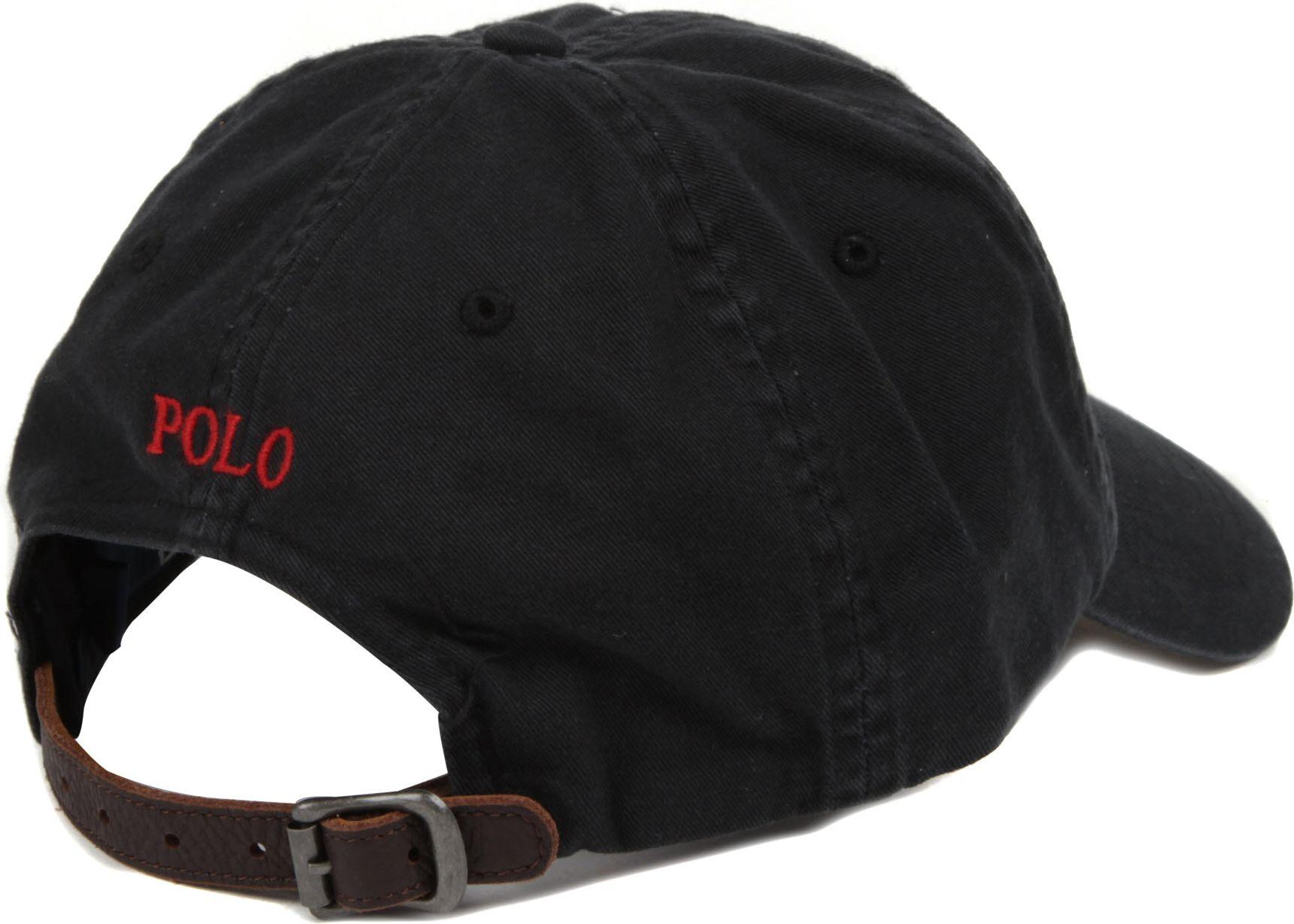 ralph lauren signature pony baseball cap in black for men. Black Bedroom Furniture Sets. Home Design Ideas