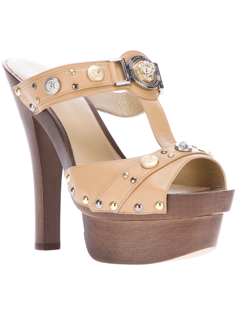 Versace Platform Sandal in Brown (beige) | Lyst