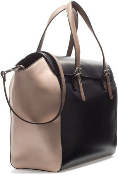 Zara Shopper Bag Black Zara Shopper Bag With