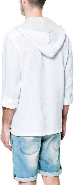 Zara Hooded Linen Shirt In White For Men Lyst