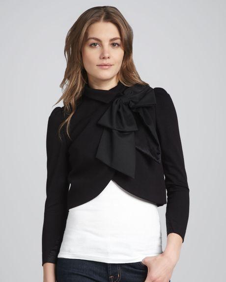 Alice Olivia Addison Bow Collar Jacket In Black Lyst