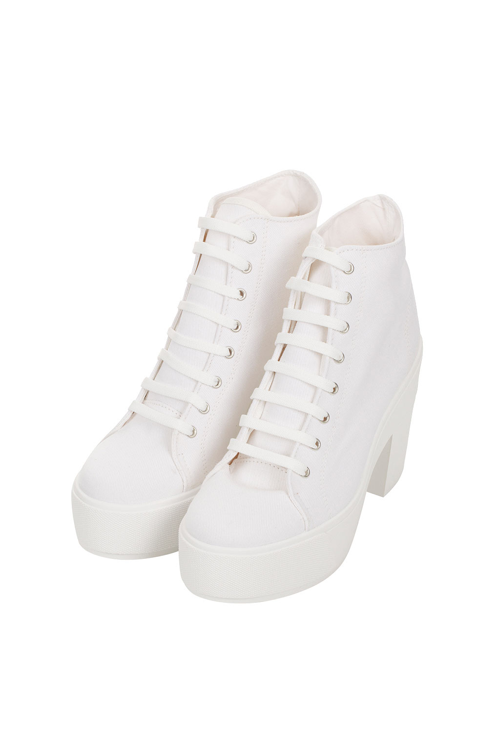 Topshop White Chunky Lace Up Shoes