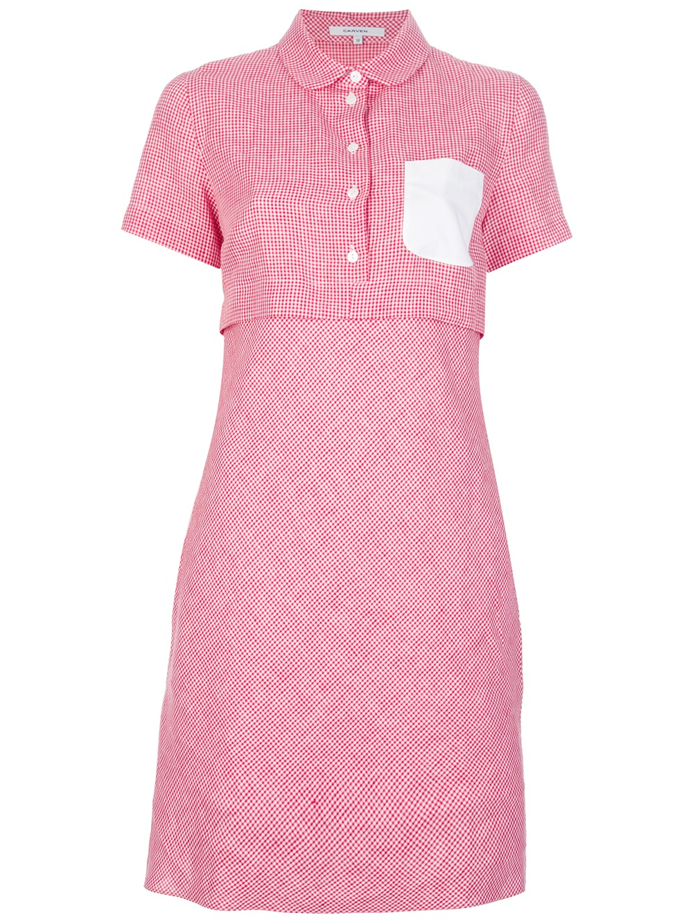 Carven gingham shirt dress in pink red lyst for Pink gingham shirt ladies