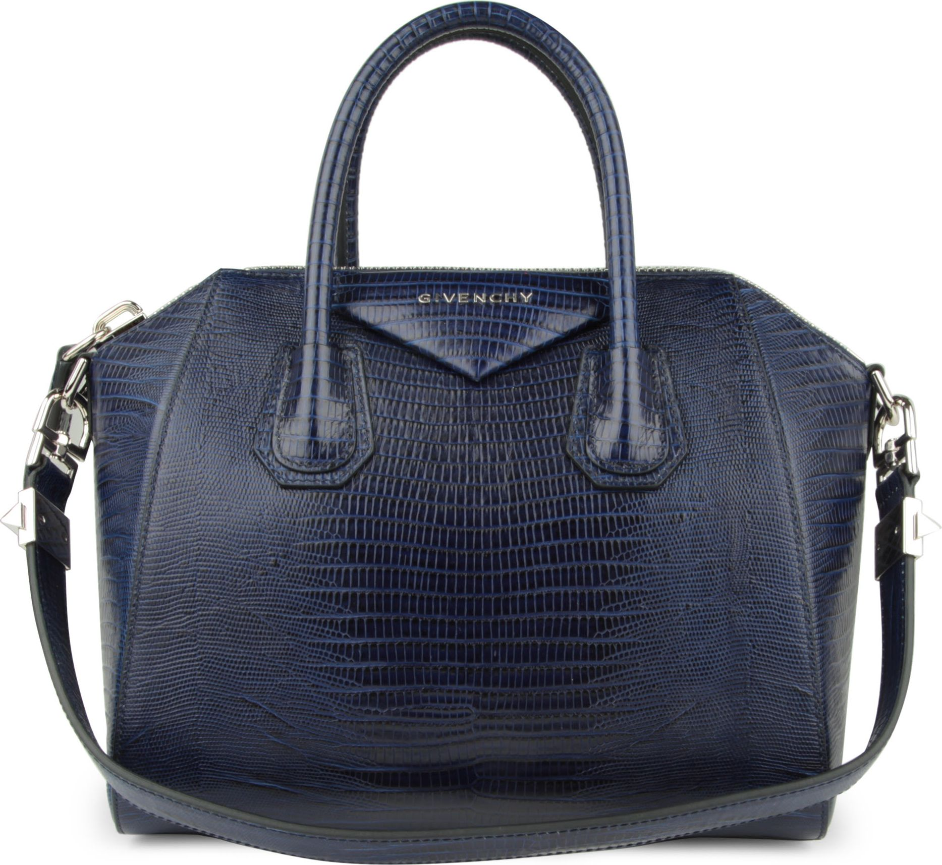 Givenchy antigona small mocklizard tote in blue lyst for Givenchy outlet online