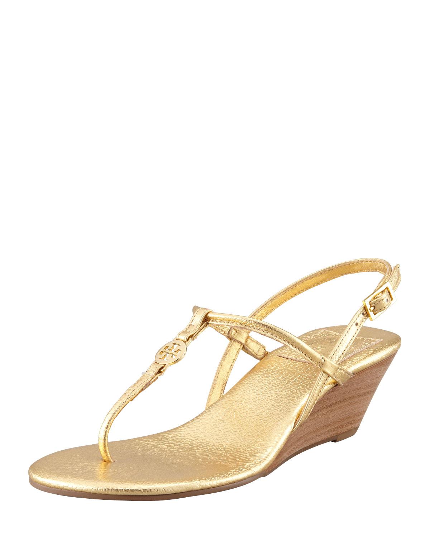 Tory Burch Emmy Demi Wedge Thong Sandal Gold in GoldTory Burch Emmy Wedge Sandals