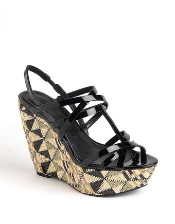 Vera Wang Patent Leather Wedge Platform Pumps - Lyst