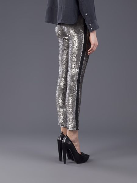 Iro Sequin Pant in Silver   Lyst