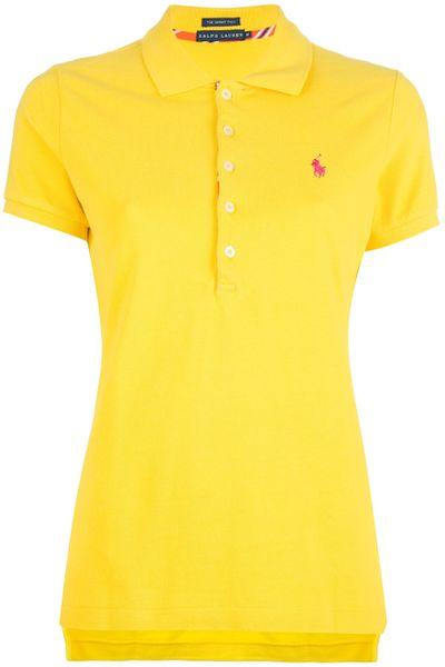 Ralph lauren black label logo polo shirt in yellow lyst for Ralph lauren black label polo shirt