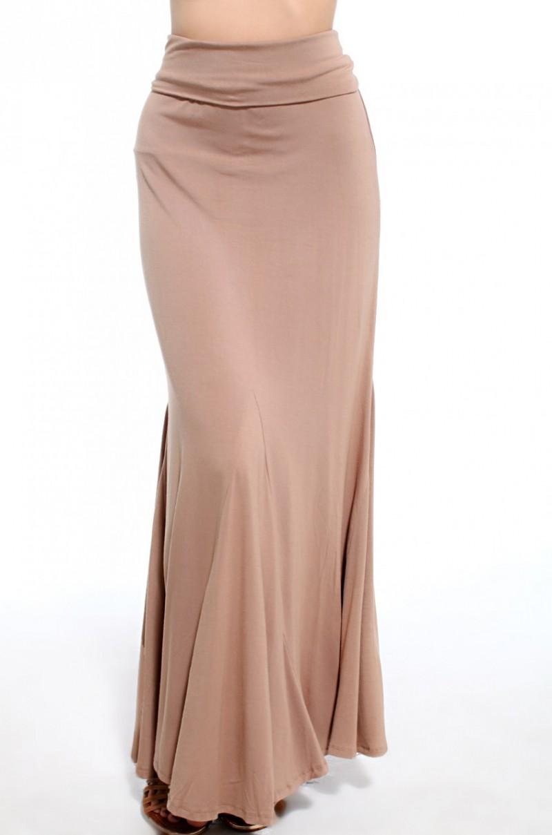 ruched back mermaid maxi skirt in mocha in beige