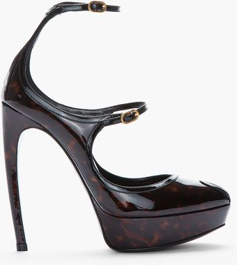 Alexander McQueen Black and Brown Tortoiseshell Patent Dream Heels - Lyst