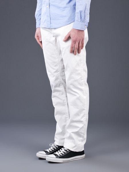 White Chino Mens Chino Trousers in White