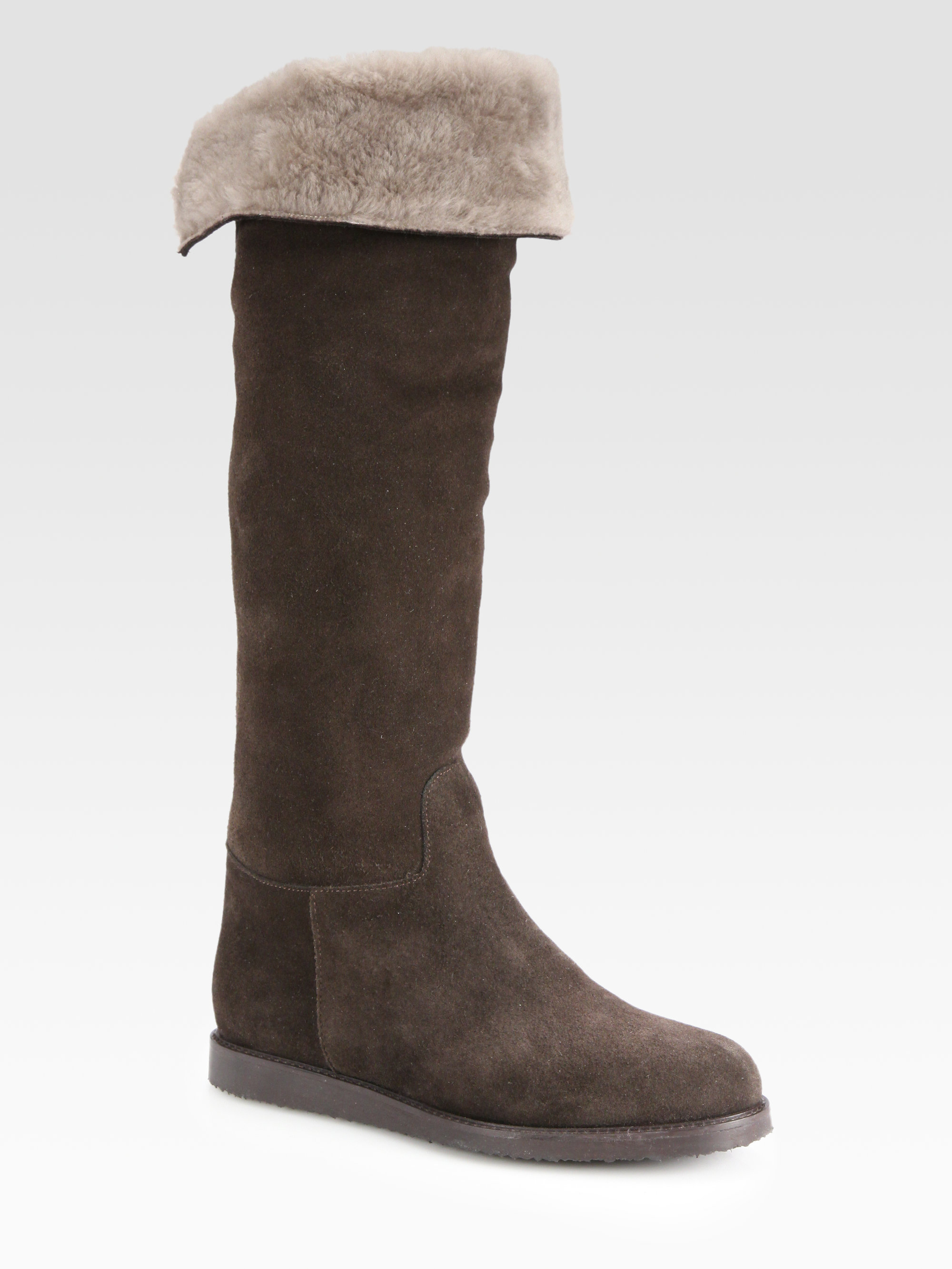 ferragamo suede shearlinglined kneehigh boots in brown lyst