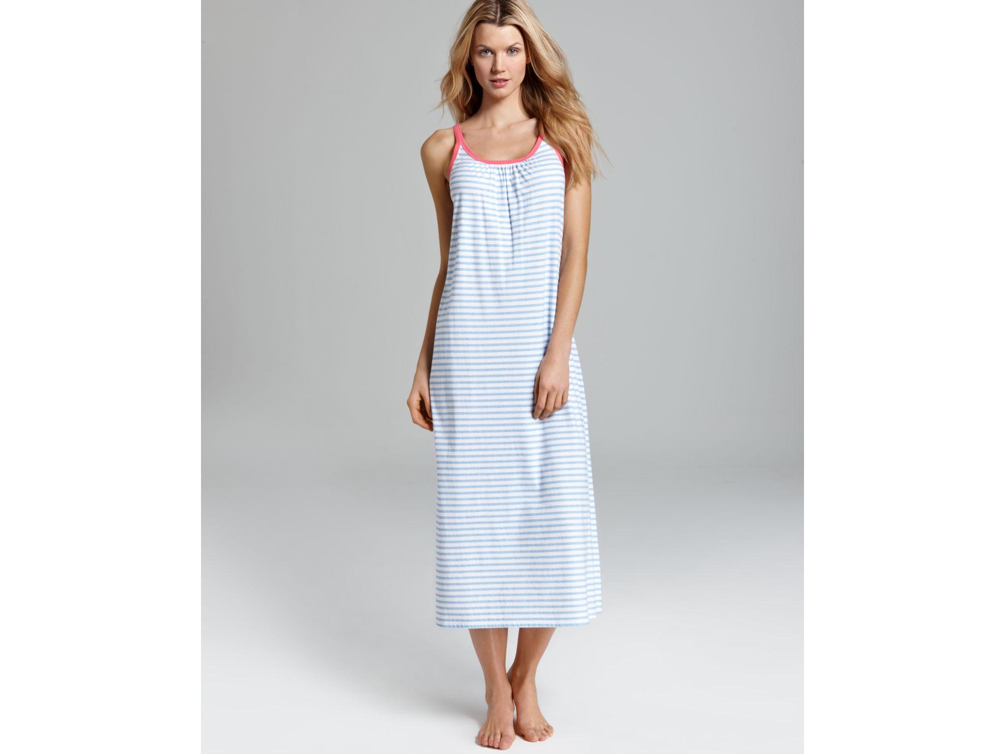 Lyst - Carole Hochman Soft Jersey Striped Long Gown in Blue