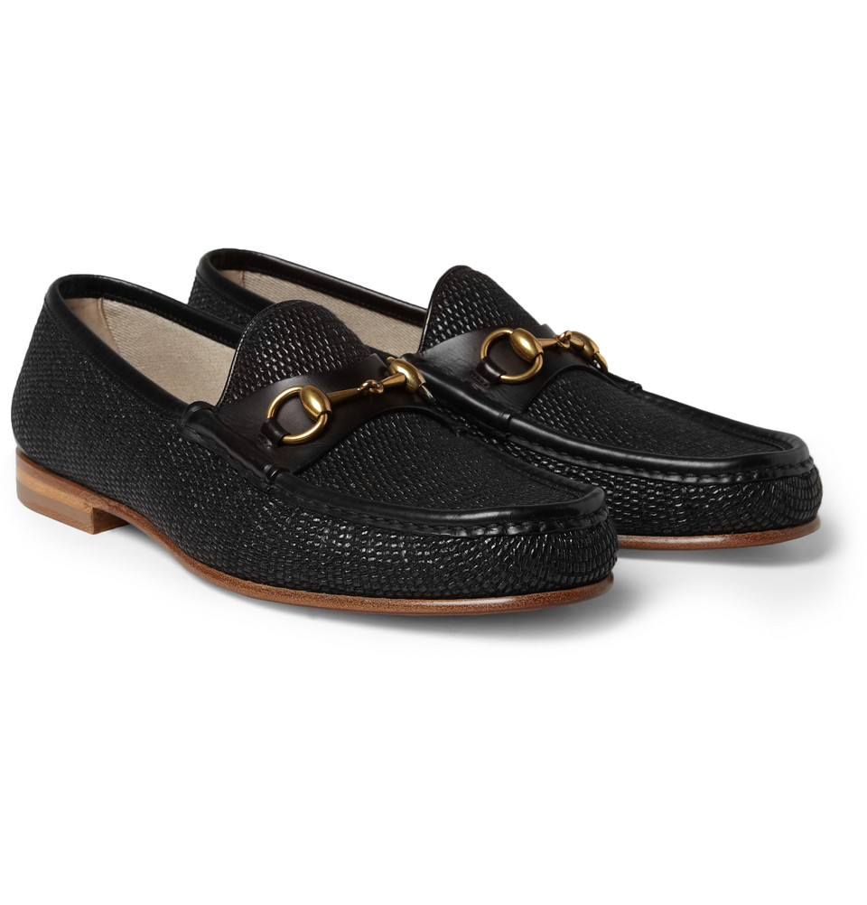 Gucci Horsebit Raffia and Leather Loafers in Black for Men ...