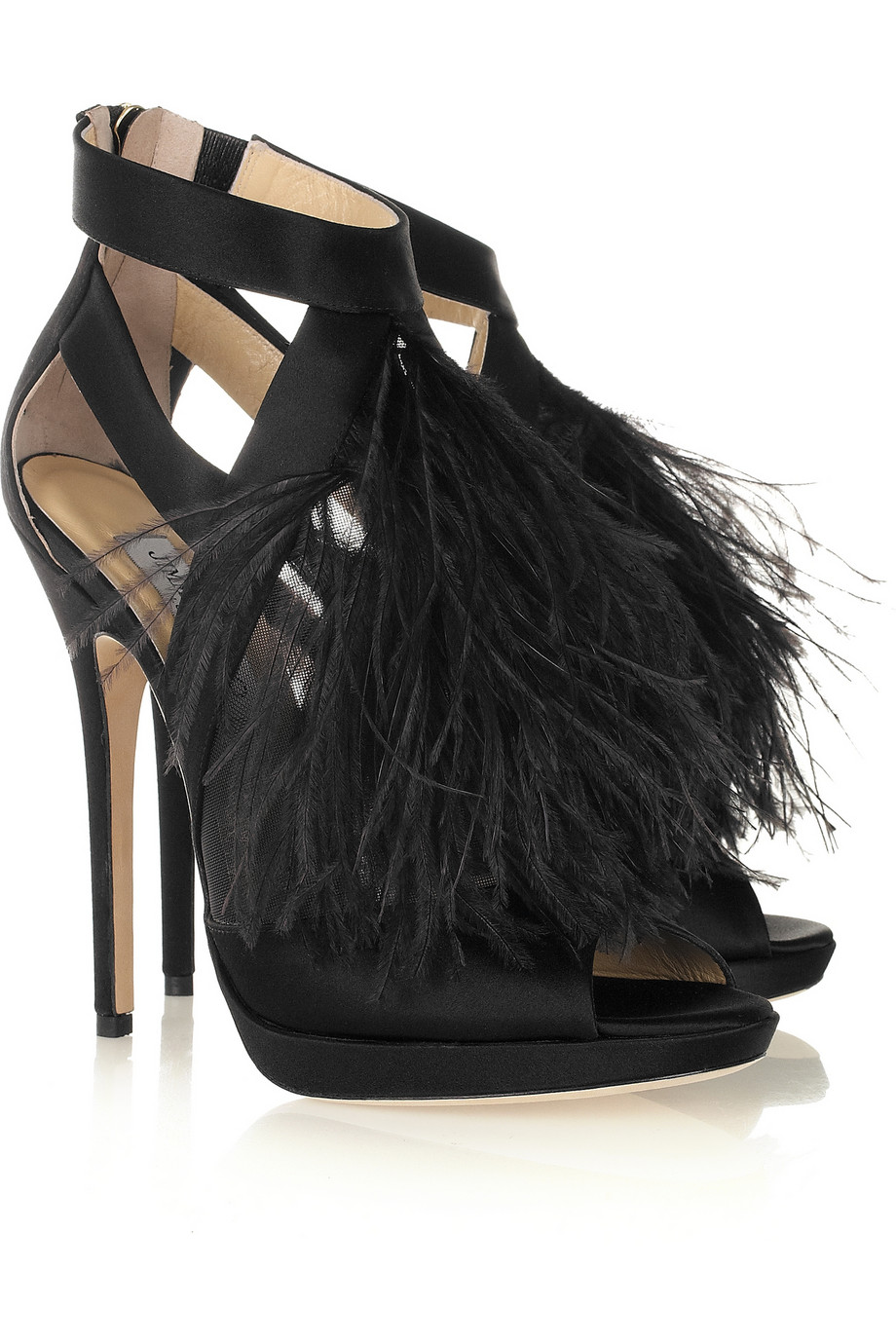 Jimmy Choo Teazer Ostrich Feather Satin Platform Sandals