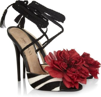 Jimmy Choo Faye Zebraprint Calf Hair Sandals - Lyst