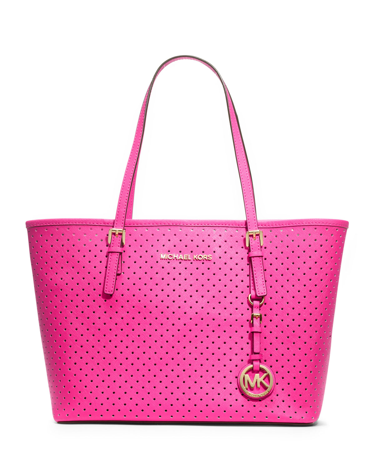 michael kors small jet set perforated travel tote in pink jet lyst. Black Bedroom Furniture Sets. Home Design Ideas
