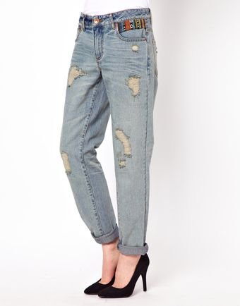 Asos Asos Slim Boyfriend Jeans in Vintage Wash with Aztec Trim - Lyst