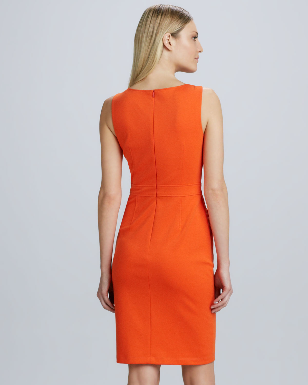 97ac5762 David Meister Lace Paneled Sheath Dress in Orange - Lyst