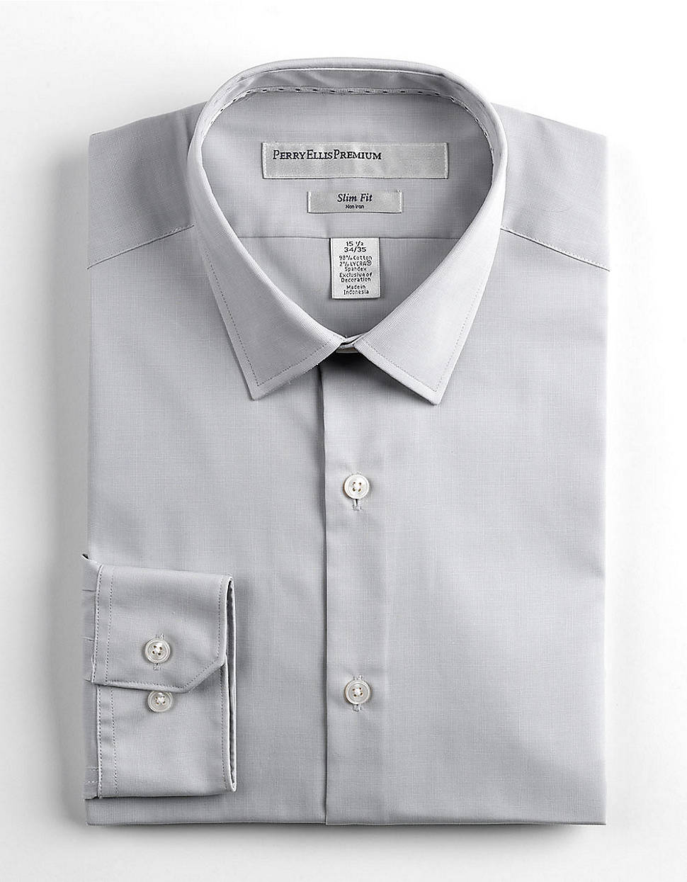 Lyst Perry Ellis Slimfit Dress Shirt In Gray For Men