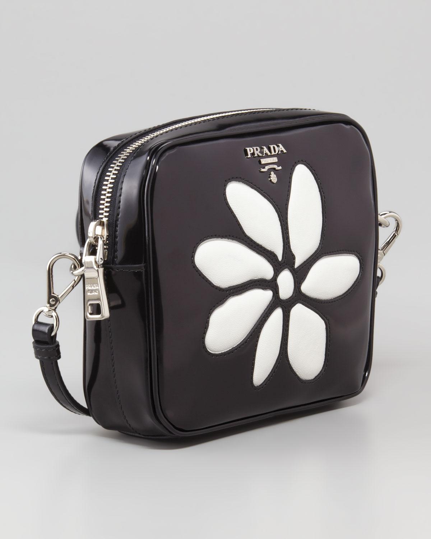 2631e21ead prada latest bag - Prada Spazzolato Small Flowerfront Crossbody Bag in  Black (967 .