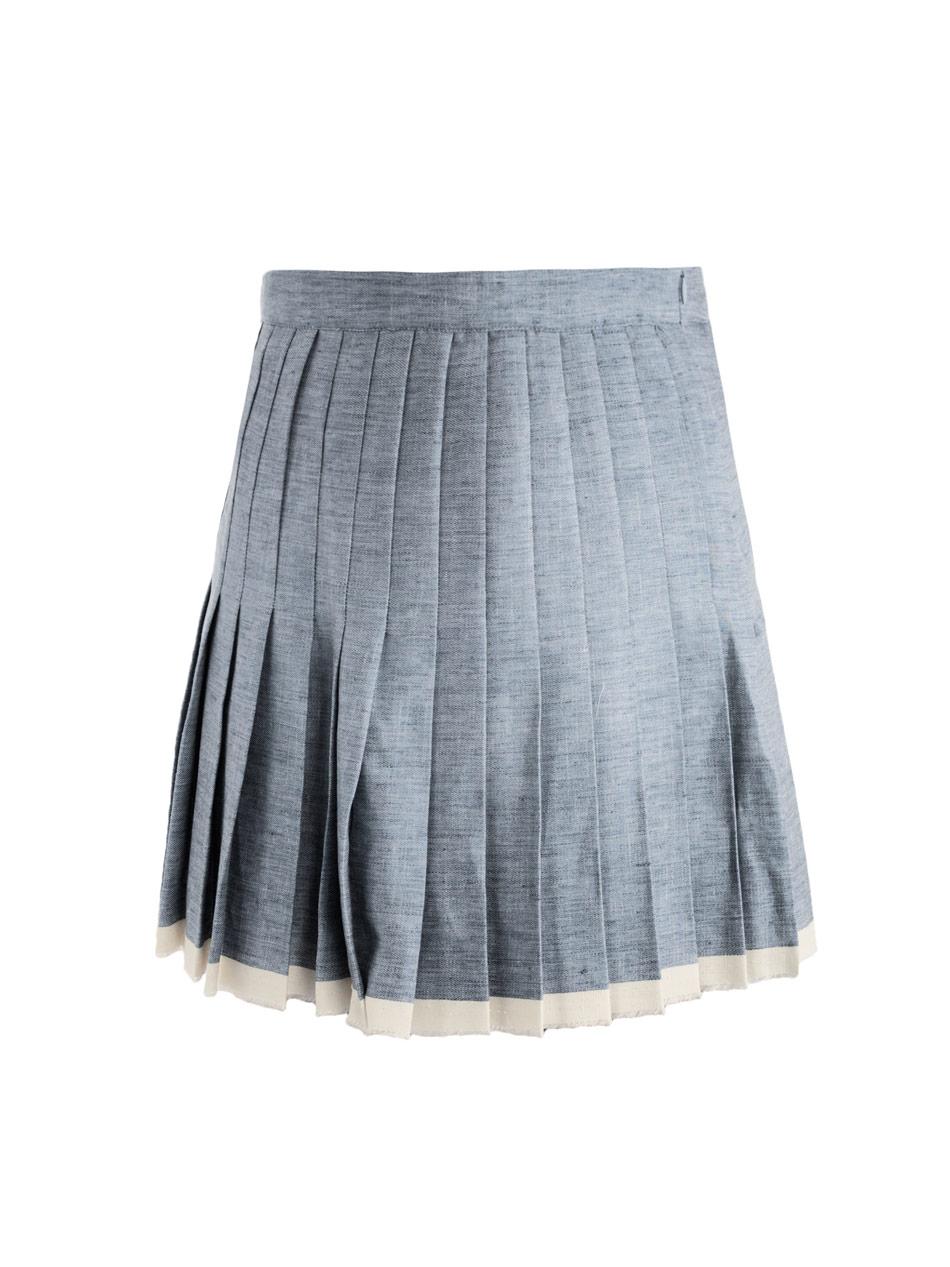 sea finish pleated skirt in blue denim lyst