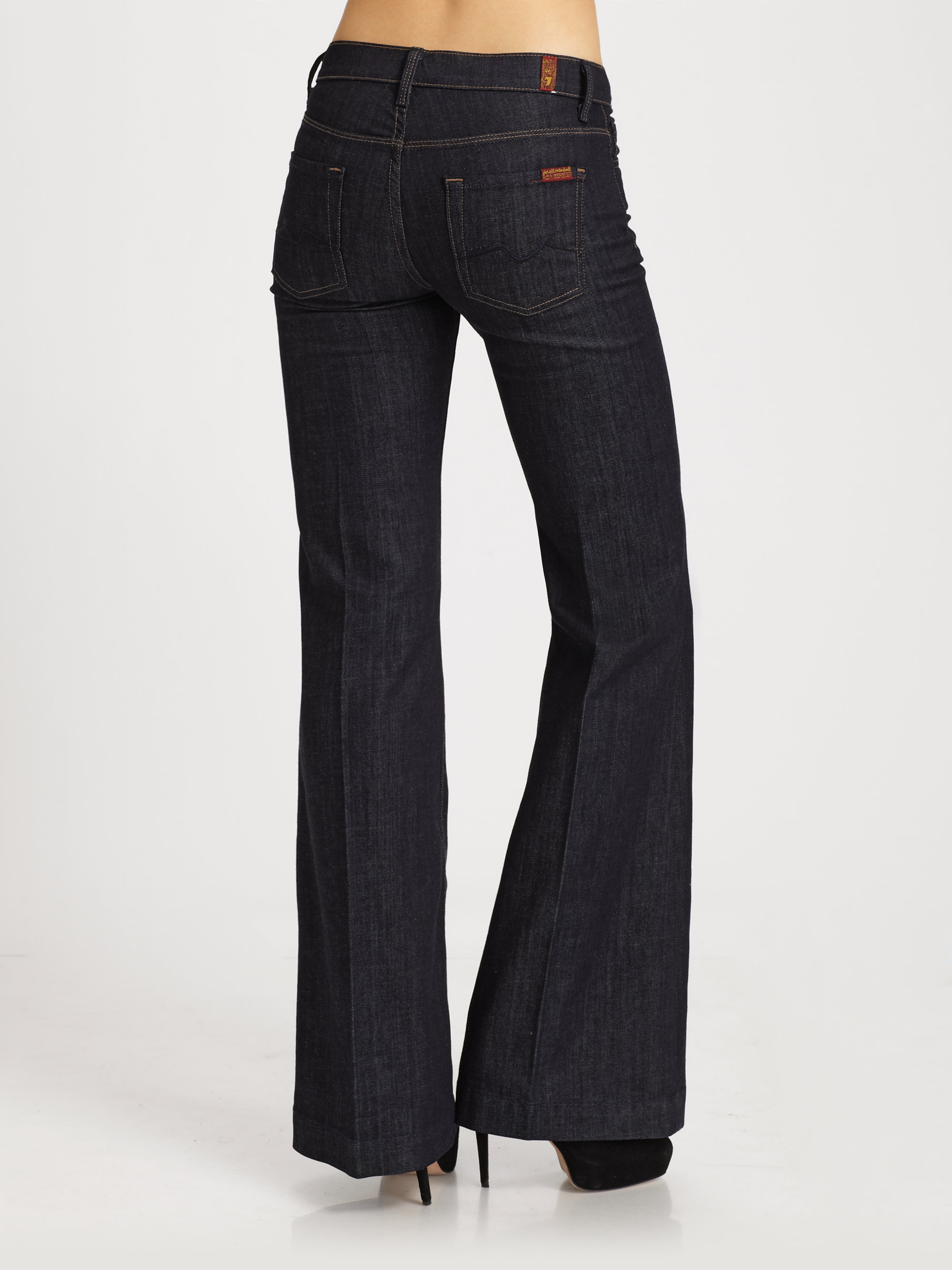 Lyst 7 For All Mankind Ginger Wide Leg Jeans In Blue