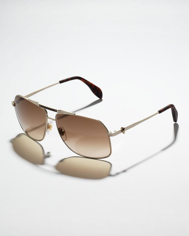 5eff61cb3fc7 Lyst - Alexander McQueen Mens Skull Aviator Sunglasses in Brown for Men