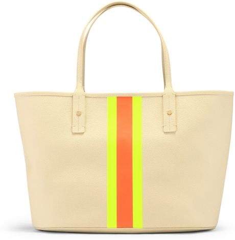 C. Wonder Printed Stripes Tote in Multicolor (natural/neon yellow-melon)