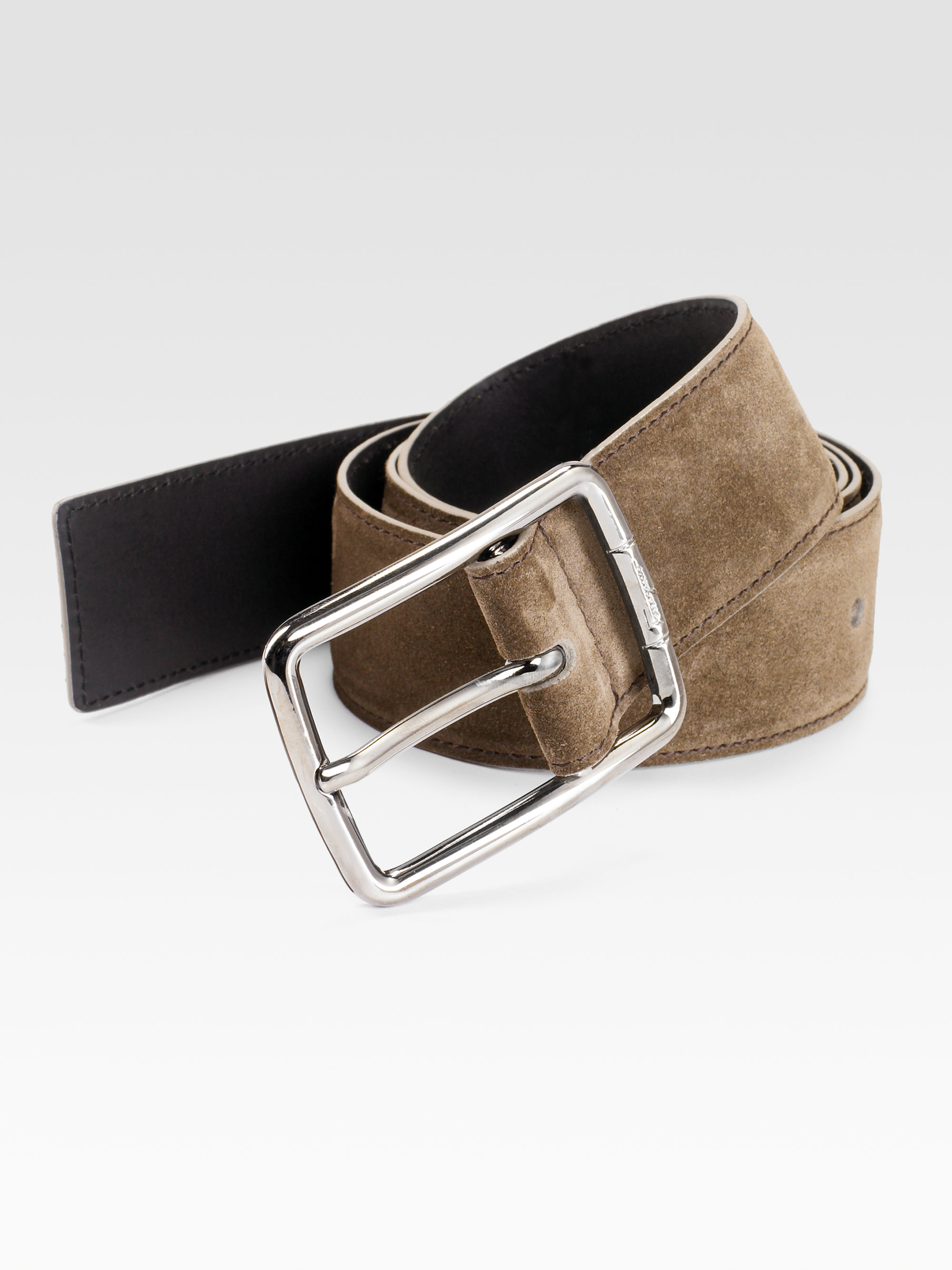 ferragamo asfalto suede belt in brown for lyst