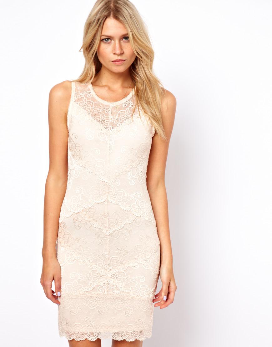 Cream Lace Sheath Dress