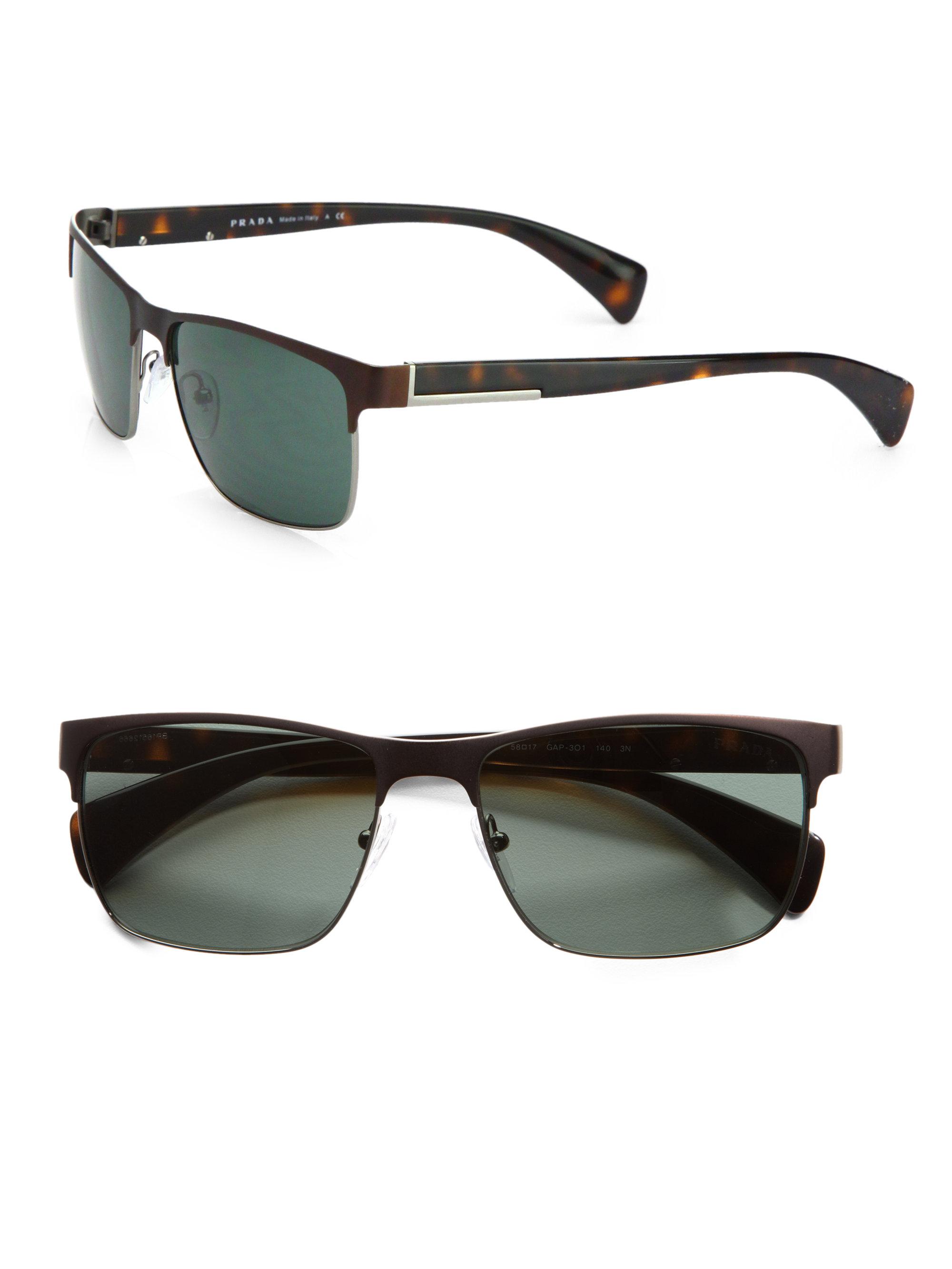 43973df5d145 ... netherlands lyst prada twotone square sunglasses in brown for men 7fd67  f9fb4