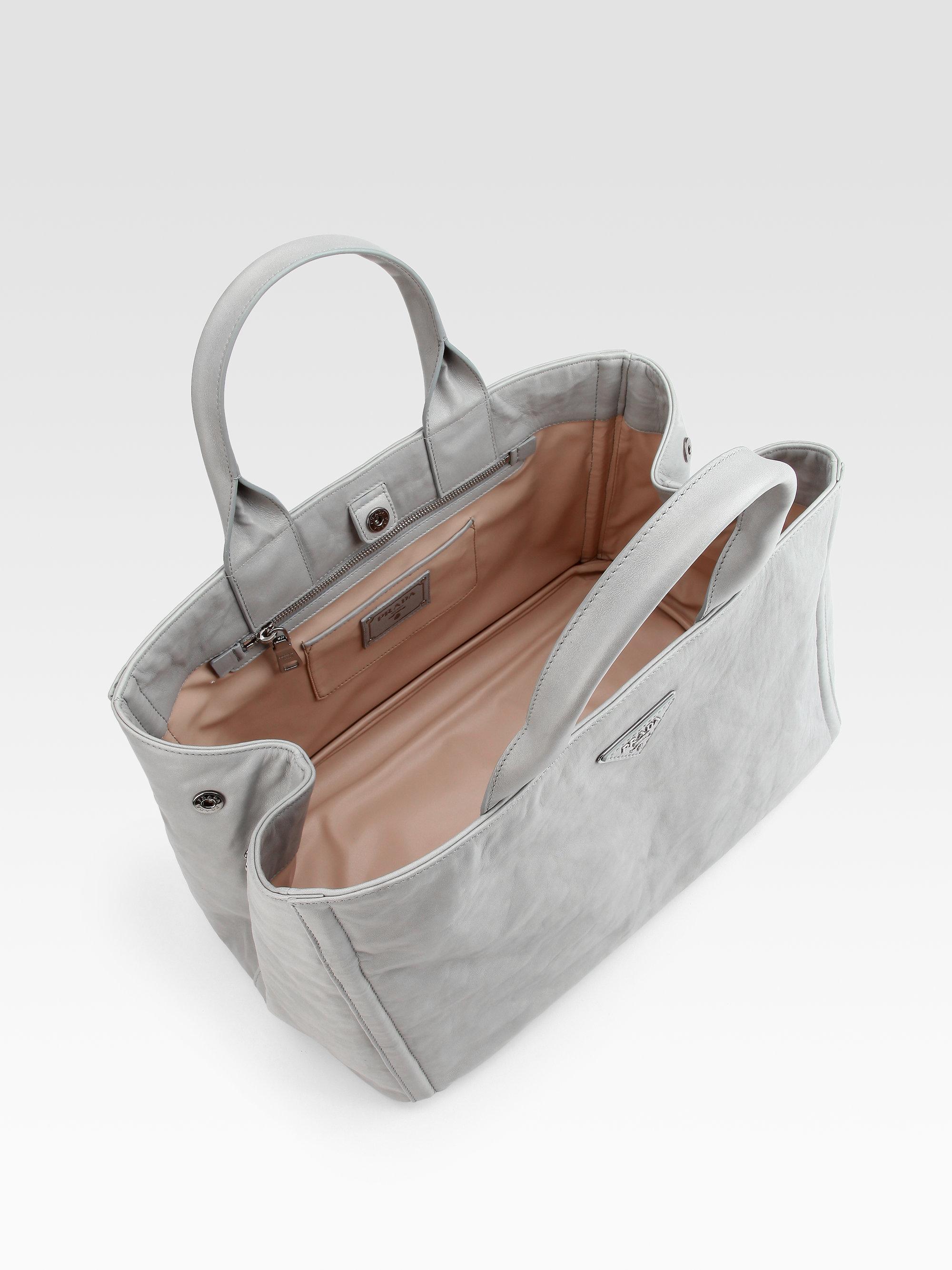 Prada Nappa Antique East/west Tote Bag in Gray (grey) | Lyst