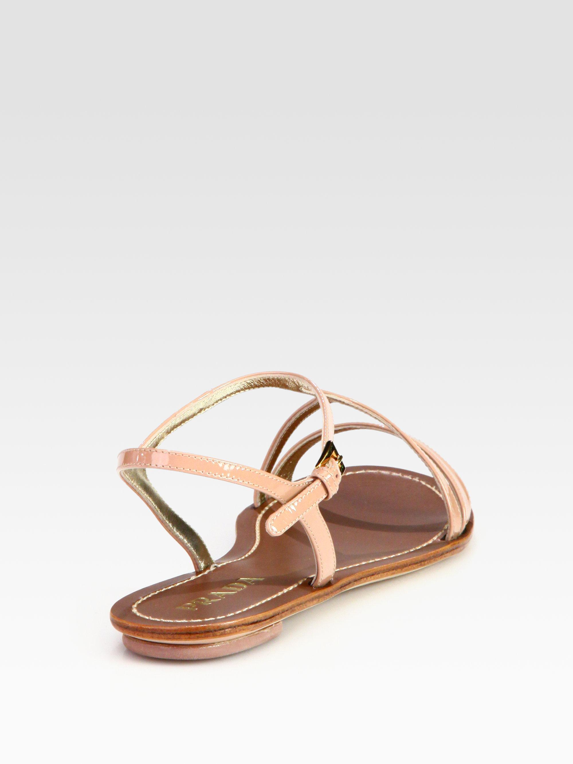 Flat Sandals Lyst Patent Prada Brown In Leather B7f6yygmiv fYgb67y