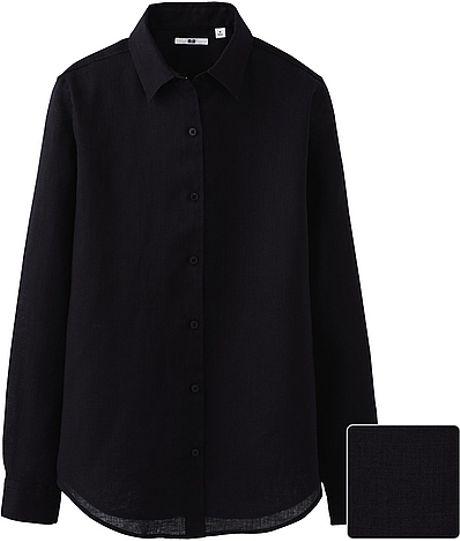 Uniqlo premium linen long sleeve shirt in black lyst for Uniqlo premium t shirt