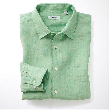 Uniqlo premium linen long sleeve shirt b in green for men for Uniqlo premium t shirt