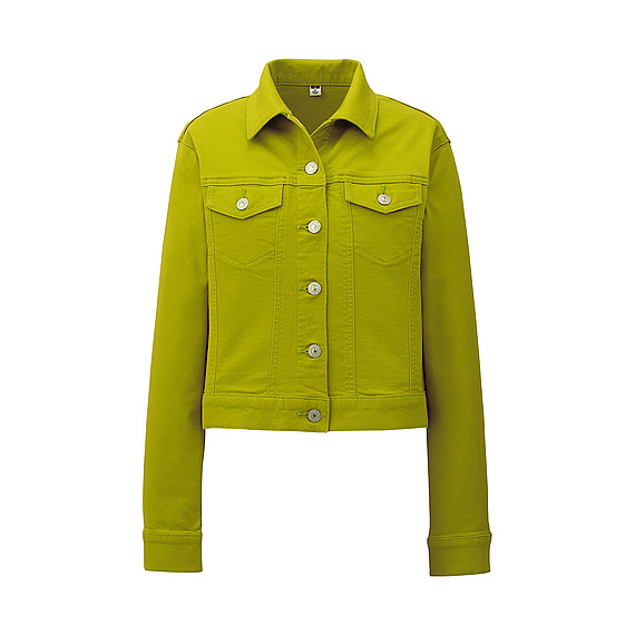 Uniqlo Stretch Denim Jacket In Green (light Green)