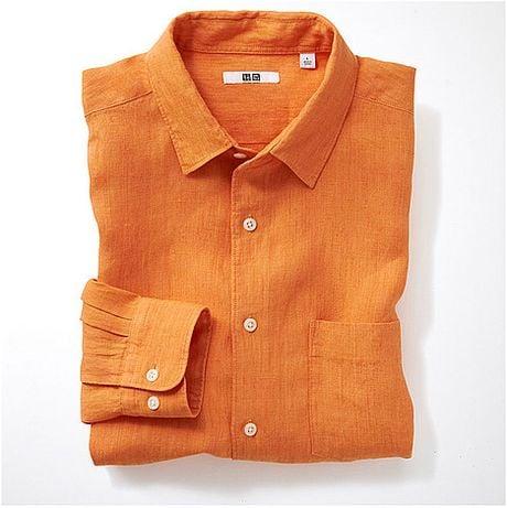 Uniqlo premium linen long sleeve shirt b in orange for men for Uniqlo premium t shirt