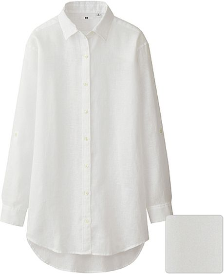 Uniqlo Premium Linen Long Sleeve Shirt Tunic In White Lyst