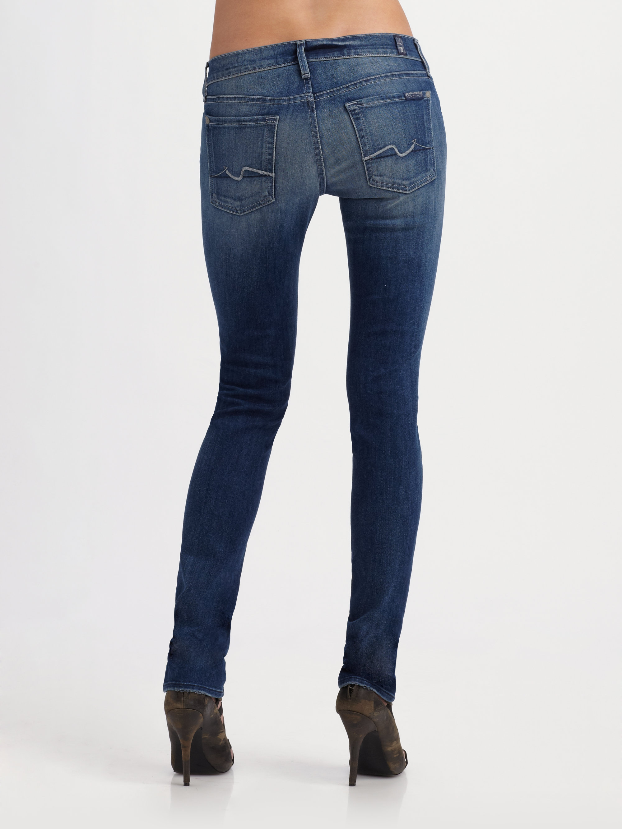 lyst 7 for all mankind roxanne skinny jeans in blue. Black Bedroom Furniture Sets. Home Design Ideas