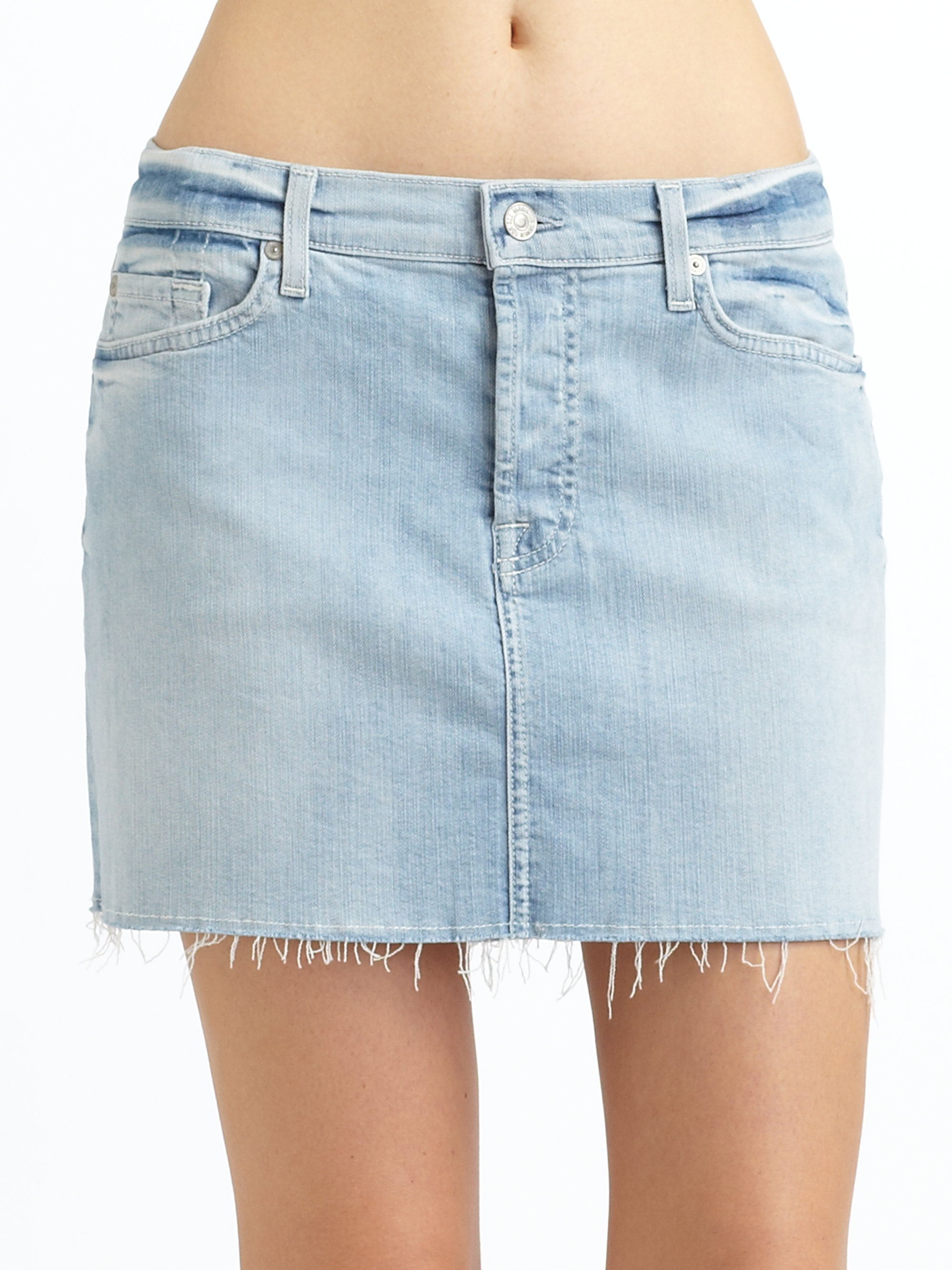 7 for all mankind Denim Cutoff Skirt in Blue | Lyst