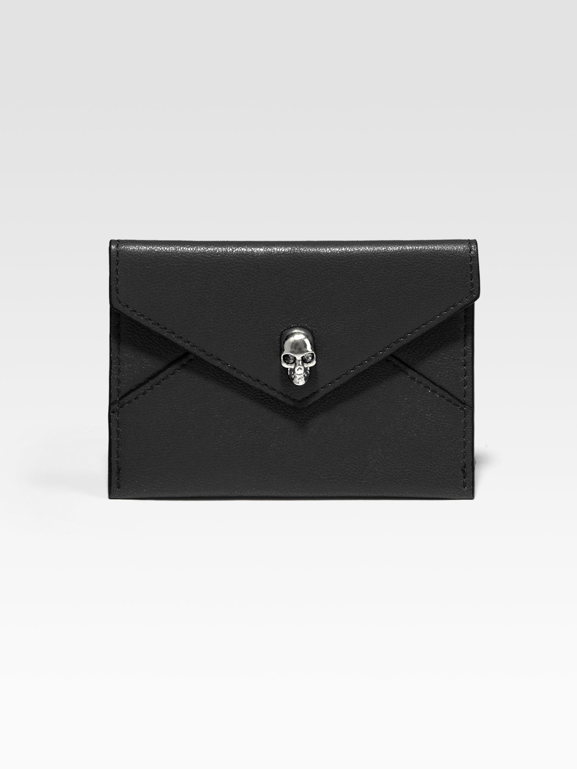 Black Skull Envelope Card Holder Alexander McQueen 05MQlXS